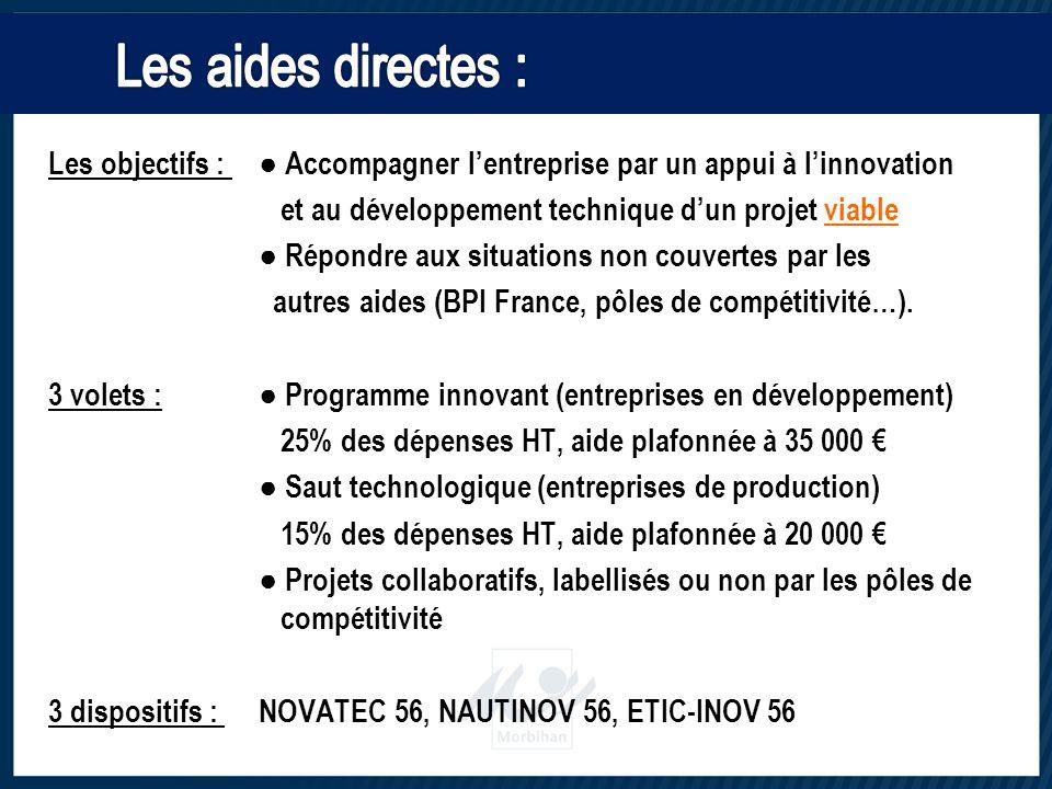 Les objectifs : ● Accompagner l'entreprise par un appui à l'innovation et au développement technique d'un projet viable ● Répondre aux situations non couvertes par les autres aides (BPI France, pôles de compétitivité…).