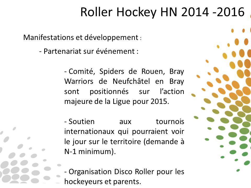 Roller Hockey HN 2014 -2016 Manifestations et développement : - Partenariat sur événement : - Comité, Spiders de Rouen, Bray Warriors de Neufchâtel en