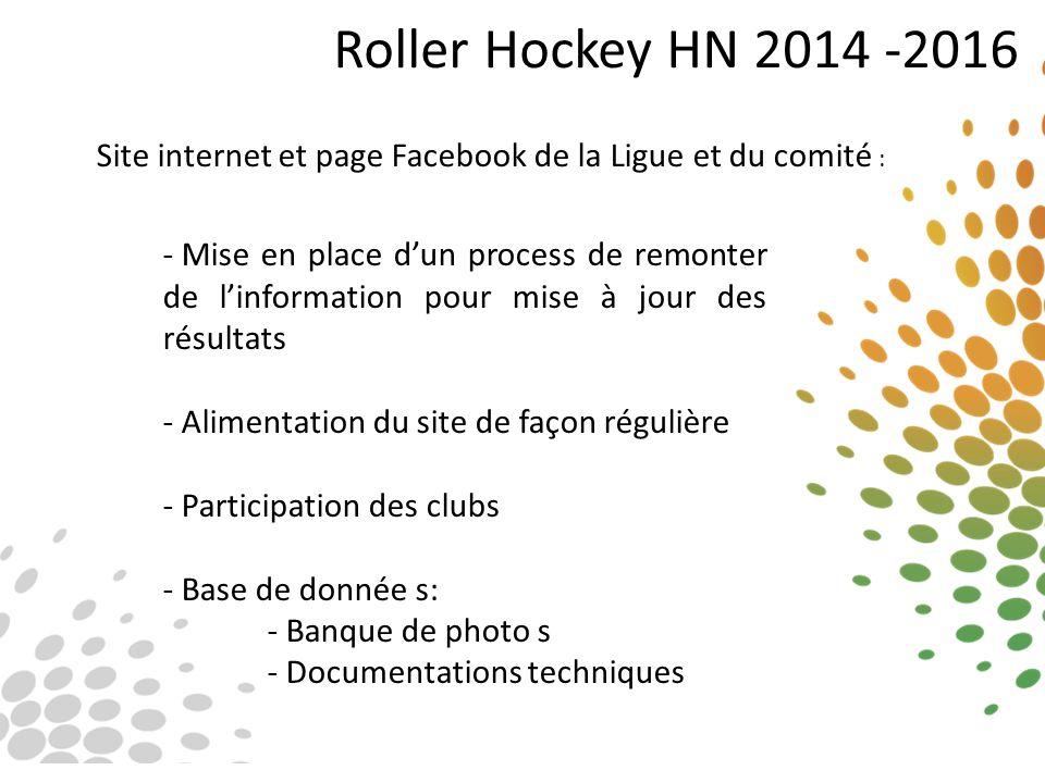 Roller Hockey HN 2014 -2016 Site internet et page Facebook de la Ligue et du comité : - Mise en place d'un process de remonter de l'information pour m