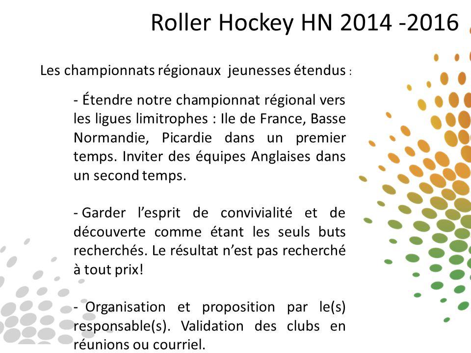 Roller Hockey HN 2014 -2016 Les championnats régionaux jeunesses étendus : - Étendre notre championnat régional vers les ligues limitrophes : Ile de F