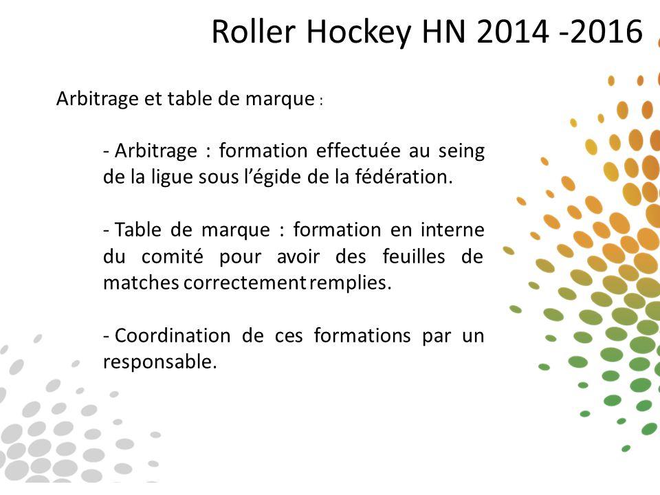 Roller Hockey HN 2014 -2016 Arbitrage et table de marque : - Arbitrage : formation effectuée au seing de la ligue sous l'égide de la fédération. - Tab