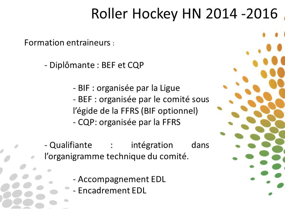 Roller Hockey HN 2014 -2016 Formation entraineurs : - Diplômante : BEF et CQP - BIF : organisée par la Ligue - BEF : organisée par le comité sous l'ég