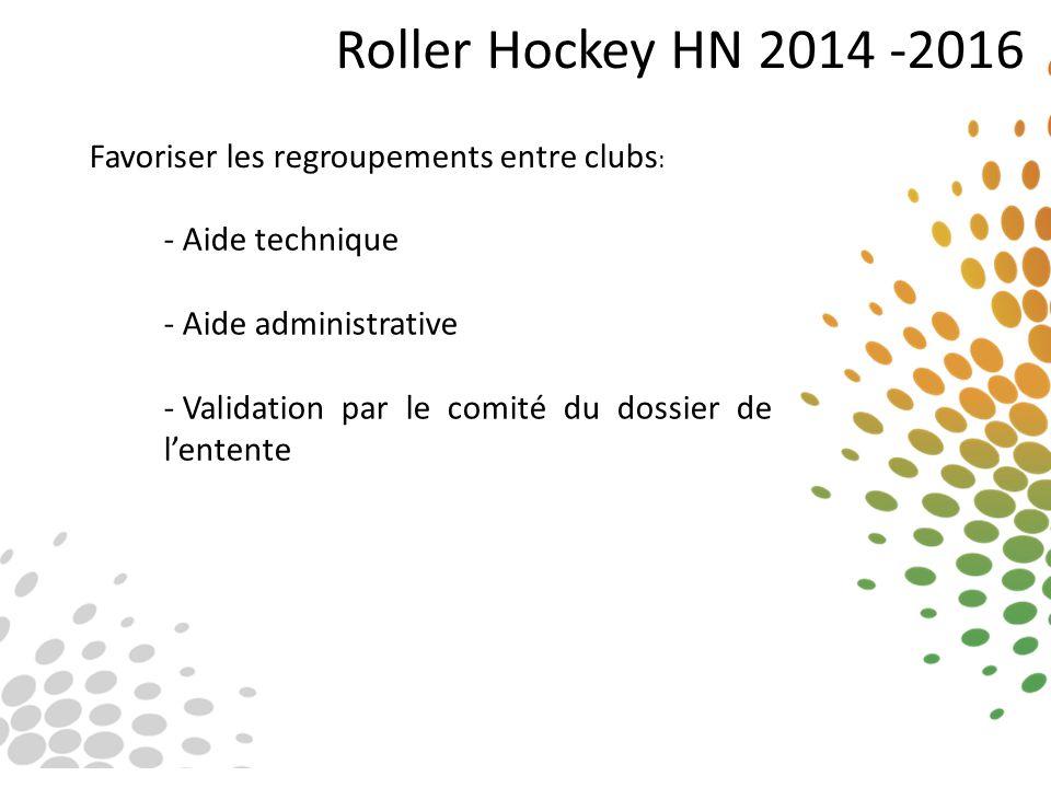 Roller Hockey HN 2014 -2016 Favoriser les regroupements entre clubs : - Aide technique - Aide administrative - Validation par le comité du dossier de