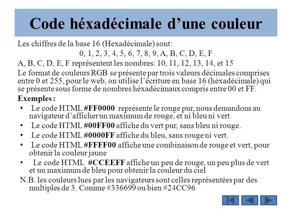 Code héxadécimale d'une couleur Les chiffres de la base 16 (Hexadécimale) sont: 0, 1, 2, 3, 4, 5, 6, 7, 8, 9, A, B, C, D, E, F A, B, C, D, E, F représentent les nombres: 10, 11, 12, 13, 14, et 15 Le format de couleurs RGB se présente par trois valeurs décimales comprises entre 0 et 255, pour le web, on utilise l'écriture en base 16 (héxadécimale) qui se présente sous forme de nombres héxadécimaux compris entre 00 et FF.