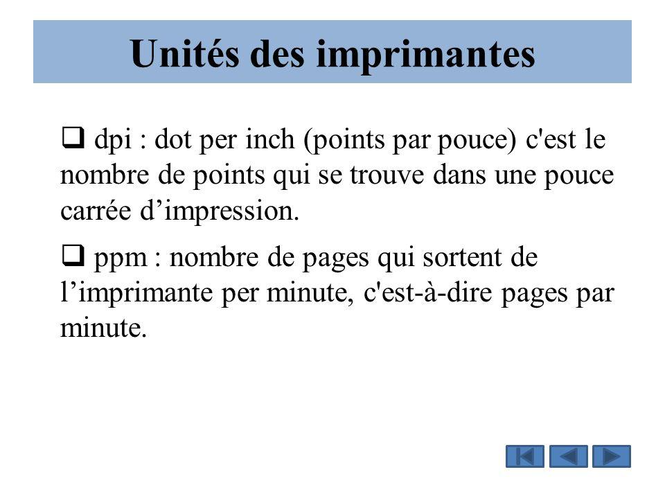 Unités des imprimantes  dpi : dot per inch (points par pouce) c'est le nombre de points qui se trouve dans une pouce carrée d'impression.  ppm : nom