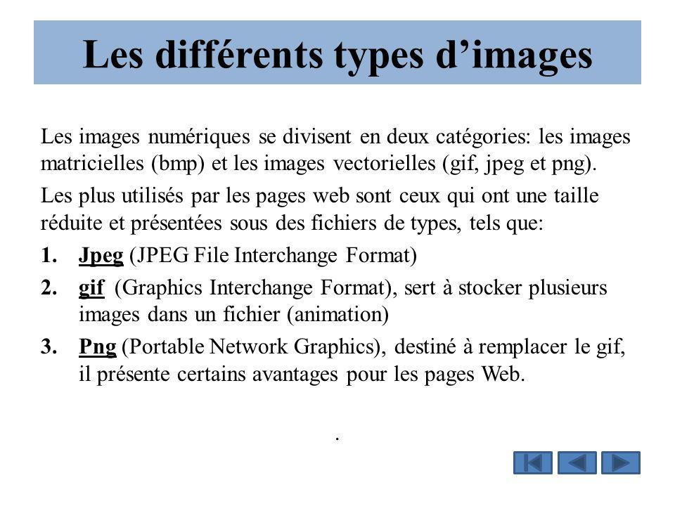 Les différents types d'images Les images numériques se divisent en deux catégories: les images matricielles (bmp) et les images vectorielles (gif, jpe