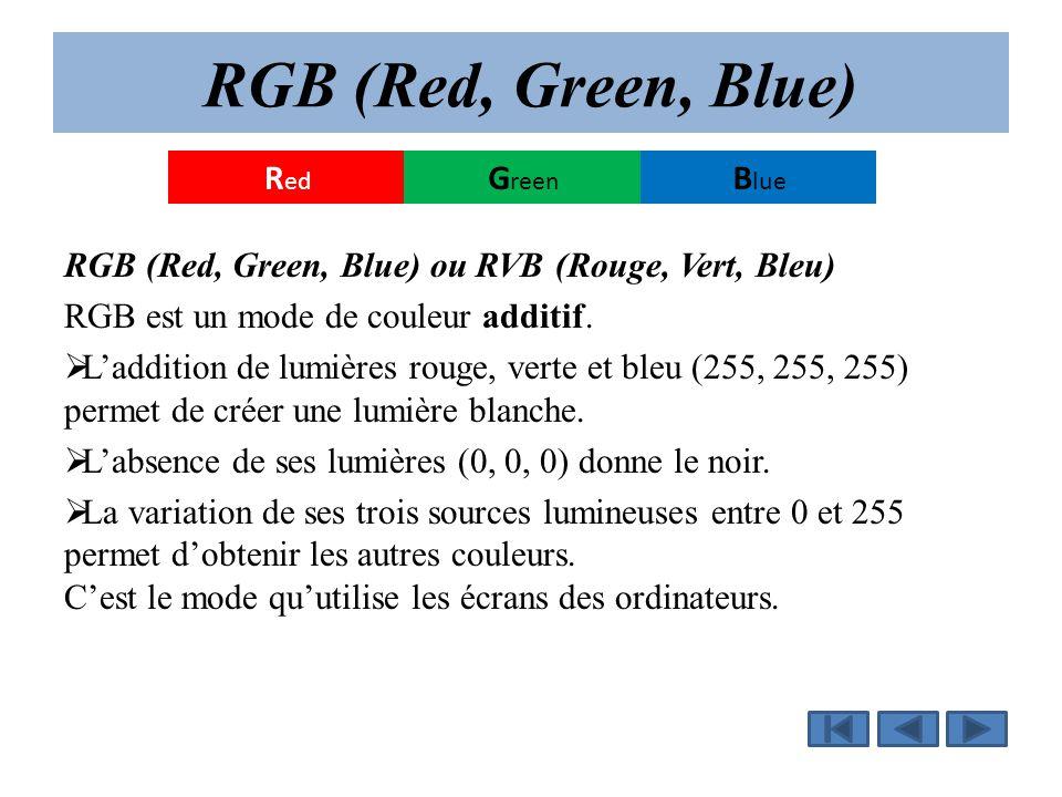 RGB (Red, Green, Blue) RGB (Red, Green, Blue) ou RVB (Rouge, Vert, Bleu) RGB est un mode de couleur additif.  L'addition de lumières rouge, verte et