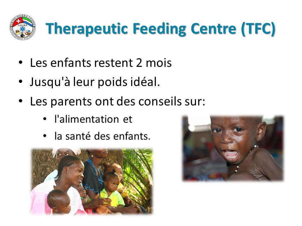 Therapeutic Feeding Centre (TFC) Les enfants restent 2 mois Jusqu à leur poids idéal.