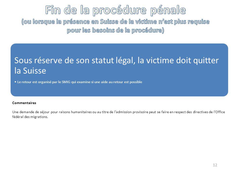 Sous réserve de son statut légal, la victime doit quitter la Suisse Le retour est organisé par le SMIG qui examine si une aide au retour est possible