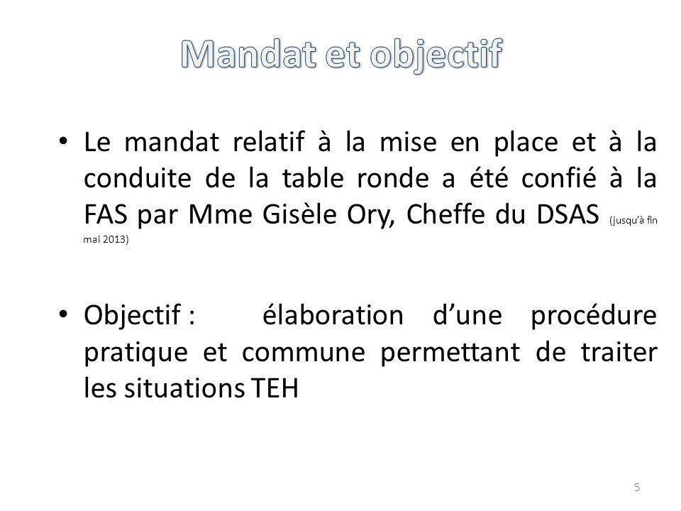 Le mandat relatif à la mise en place et à la conduite de la table ronde a été confié à la FAS par Mme Gisèle Ory, Cheffe du DSAS (jusqu'à fin mai 2013) Objectif :élaboration d'une procédure pratique et commune permettant de traiter les situations TEH 5