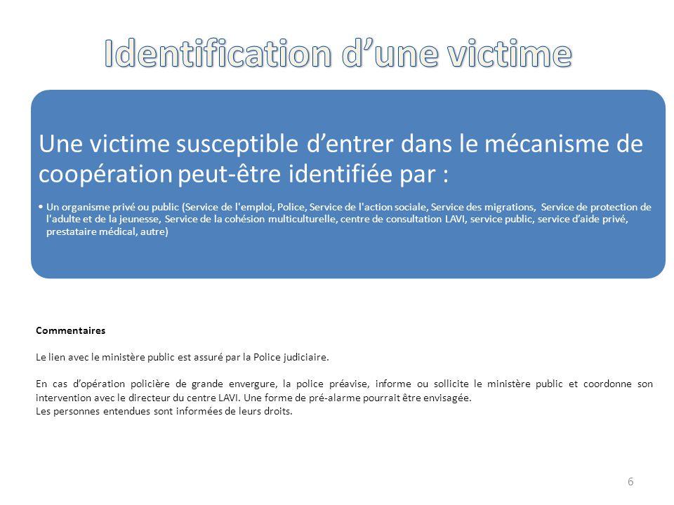 Une victime susceptible d'entrer dans le mécanisme de coopération peut-être identifiée par : Un organisme privé ou public (Service de l'emploi, Police