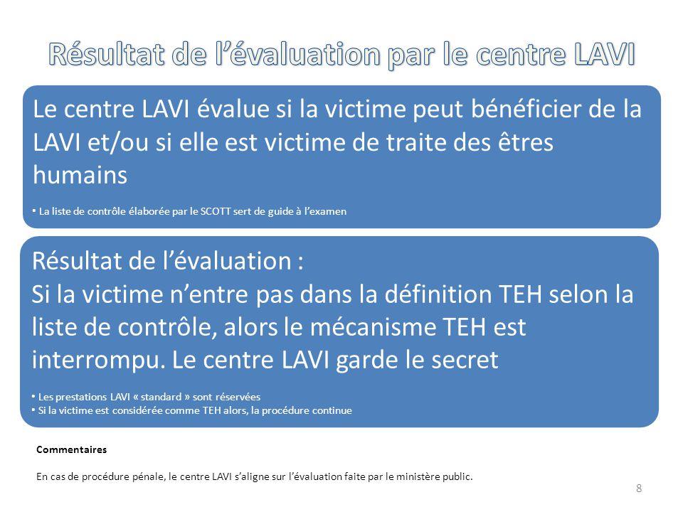 8 Commentaires En cas de procédure pénale, le centre LAVI s'aligne sur l'évaluation faite par le ministère public. Le centre LAVI évalue si la victime