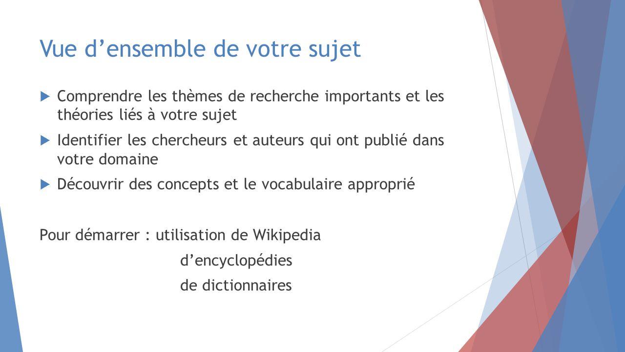 Vue d'ensemble de votre sujet  Comprendre les thèmes de recherche importants et les théories liés à votre sujet  Identifier les chercheurs et auteurs qui ont publié dans votre domaine  Découvrir des concepts et le vocabulaire approprié Pour démarrer : utilisation de Wikipedia d'encyclopédies de dictionnaires