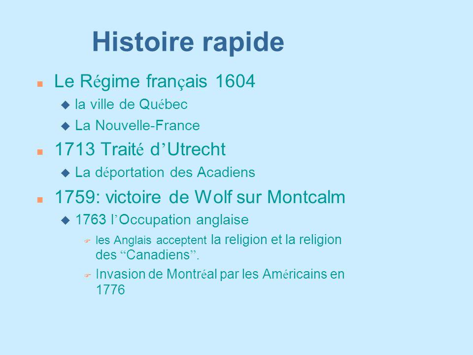 Histoire rapide Le R é gime fran ç ais 1604  la ville de Qu é bec u La Nouvelle-France 1713 Trait é d ' Utrecht  La d é portation des Acadiens n 175
