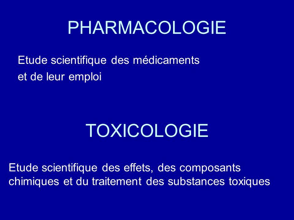 PHARMACOLOGIE Etude scientifique des médicaments et de leur emploi TOXICOLOGIE Etude scientifique des effets, des composants chimiques et du traitement des substances toxiques