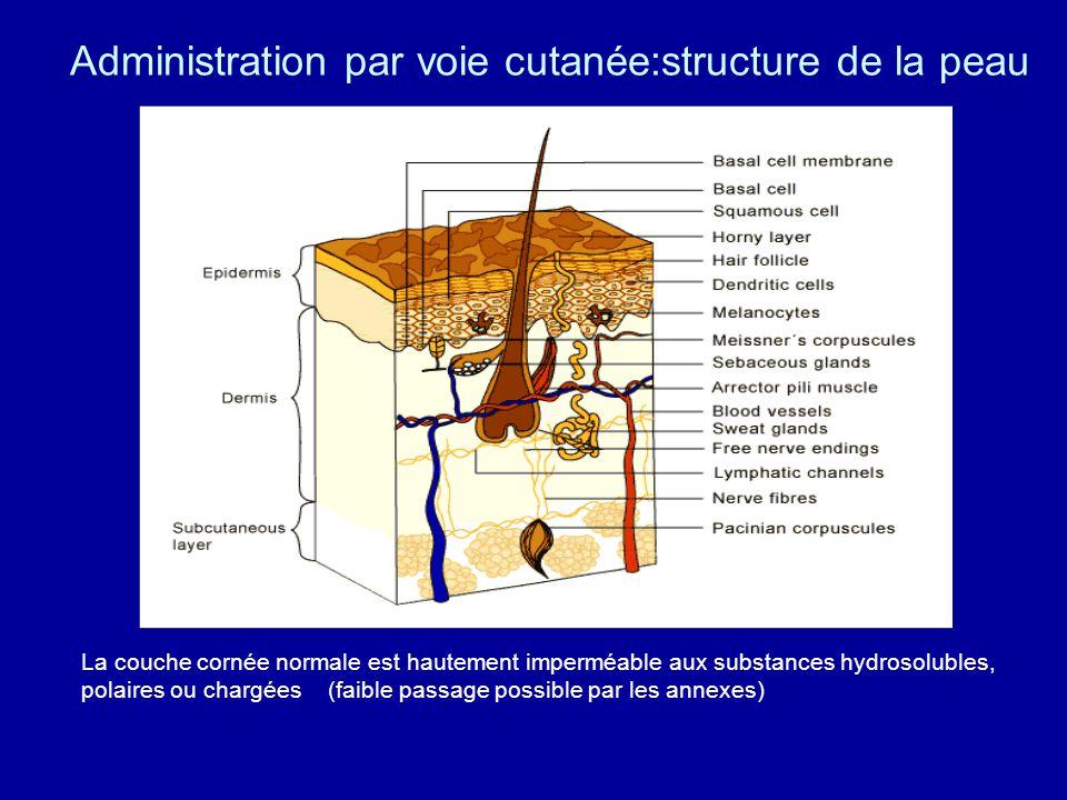 Administration par voie cutanée:structure de la peau La couche cornée normale est hautement imperméable aux substances hydrosolubles, polaires ou chargées (faible passage possible par les annexes)