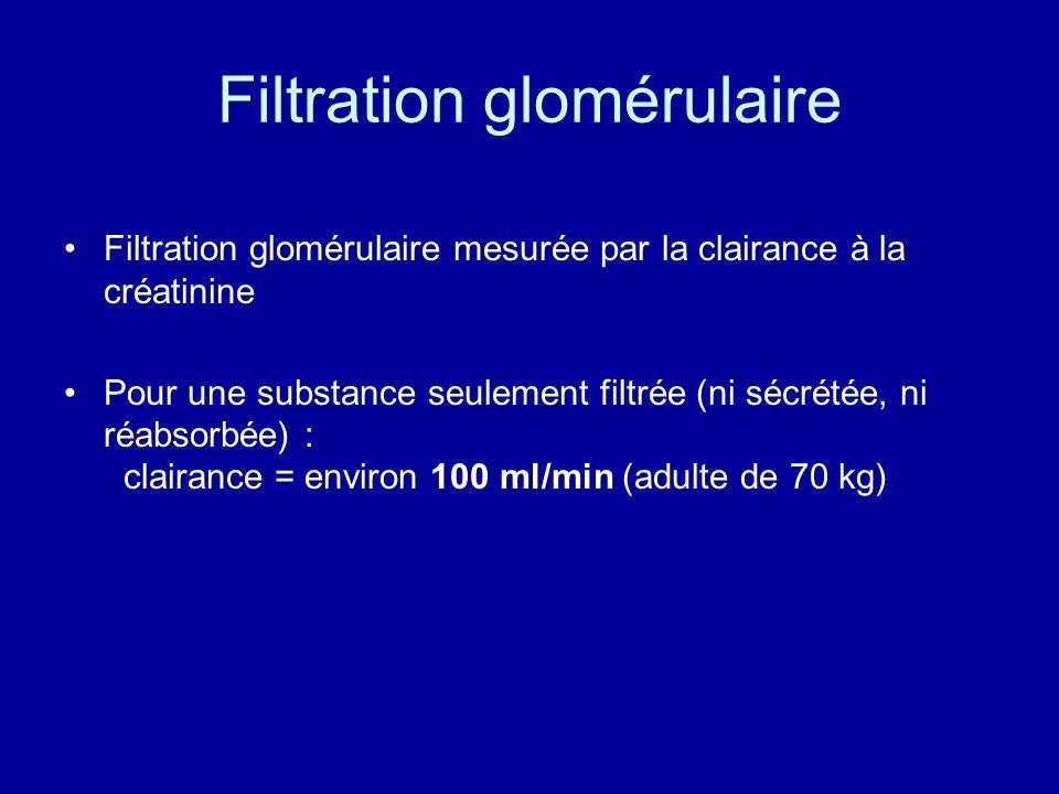 Filtration glomérulaire Filtration glomérulaire mesurée par la clairance à la créatinine Pour une substance seulement filtrée (ni sécrétée, ni réabsorbée) : clairance = environ 100 ml/min (adulte de 70 kg)