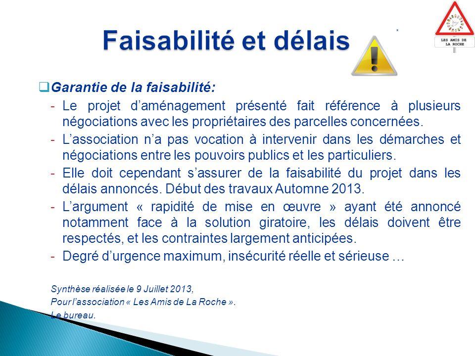  Garantie de la faisabilité: -Le projet d'aménagement présenté fait référence à plusieurs négociations avec les propriétaires des parcelles concernées.