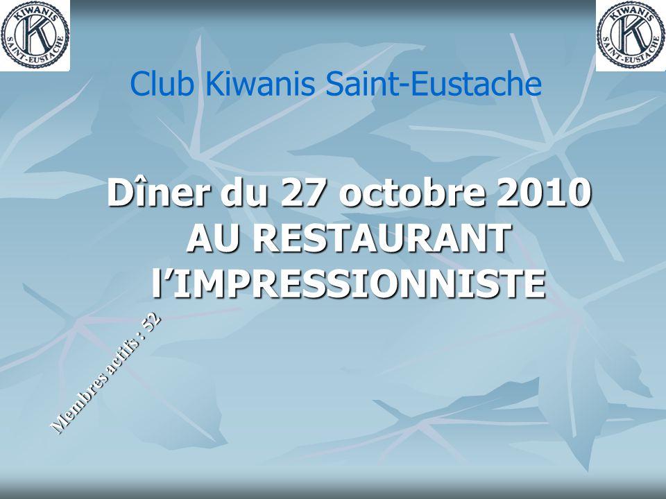 Dîner du 27 octobre 2010 AU RESTAURANT l'IMPRESSIONNISTE Membres actifs : 52 Club Kiwanis Saint-Eustache