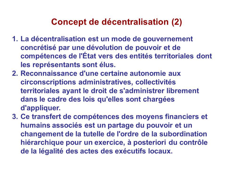 Concept de décentralisation (2) 1.La décentralisation est un mode de gouvernement concrétisé par une dévolution de pouvoir et de compétences de l'État
