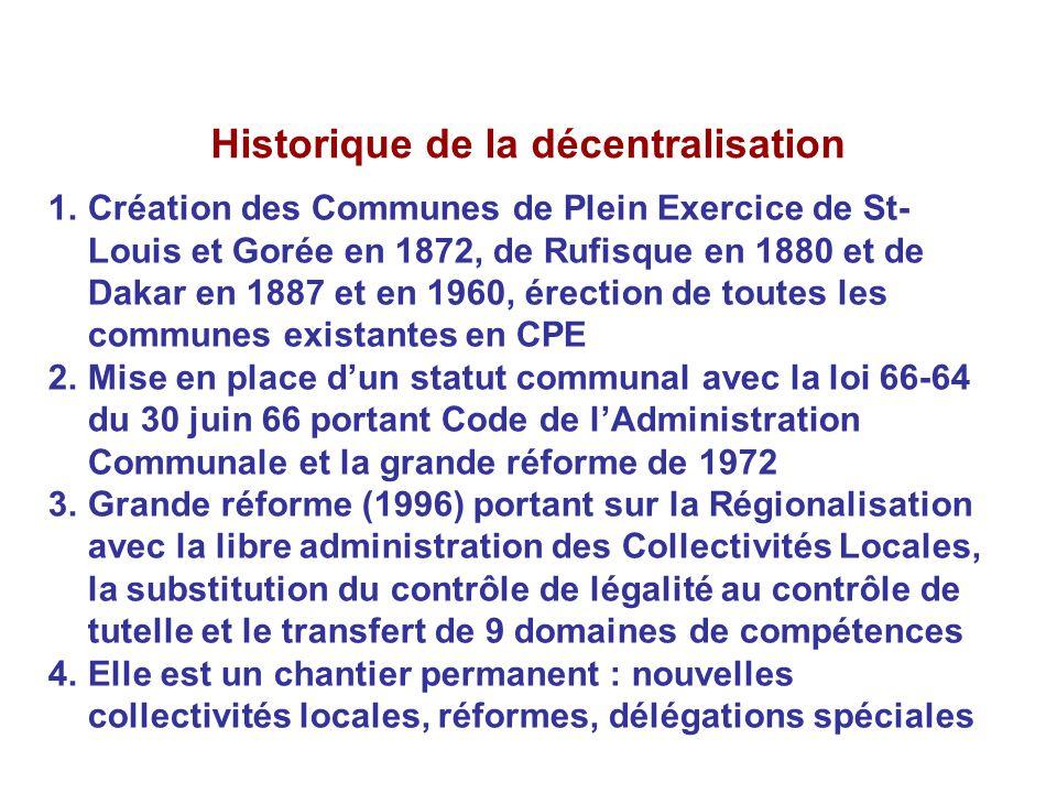 Historique de la décentralisation 1.Création des Communes de Plein Exercice de St- Louis et Gorée en 1872, de Rufisque en 1880 et de Dakar en 1887 et