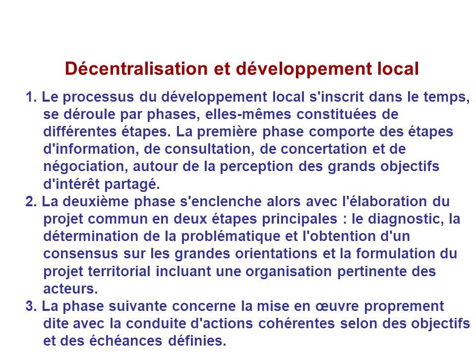 Décentralisation et développement local 1. Le processus du développement local s'inscrit dans le temps, se déroule par phases, elles-mêmes constituées