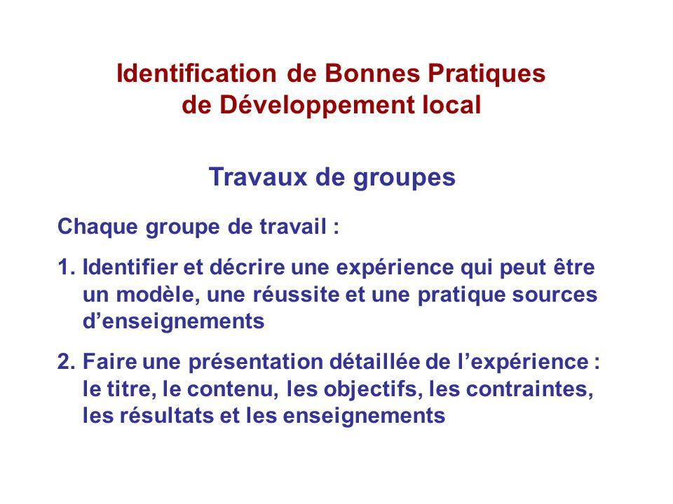 Identification de Bonnes Pratiques de Développement local Travaux de groupes Chaque groupe de travail : 1.Identifier et décrire une expérience qui peu