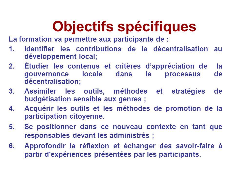 Objectifs spécifiques La formation va permettre aux participants de : 1.Identifier les contributions de la décentralisation au développement local; 2.