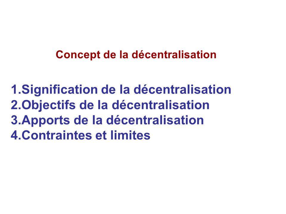 Concept de la décentralisation 1.Signification de la décentralisation 2.Objectifs de la décentralisation 3.Apports de la décentralisation 4.Contrainte