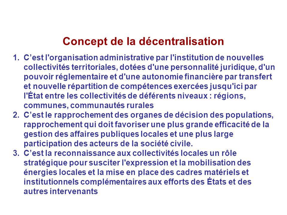 Concept de la décentralisation 1.C'est l'organisation administrative par l'institution de nouvelles collectivités territoriales, dotées d'une personna