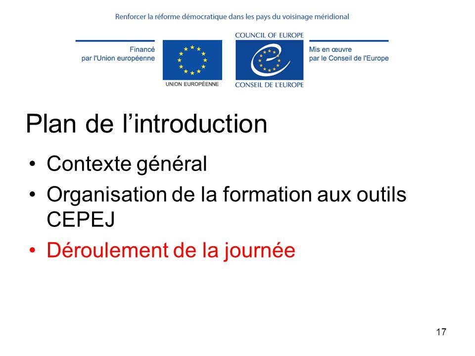 17 Plan de l'introduction Contexte général Organisation de la formation aux outils CEPEJ Déroulement de la journée