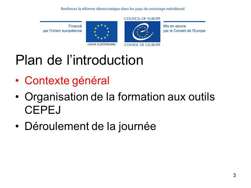 3 Plan de l'introduction Contexte général Organisation de la formation aux outils CEPEJ Déroulement de la journée