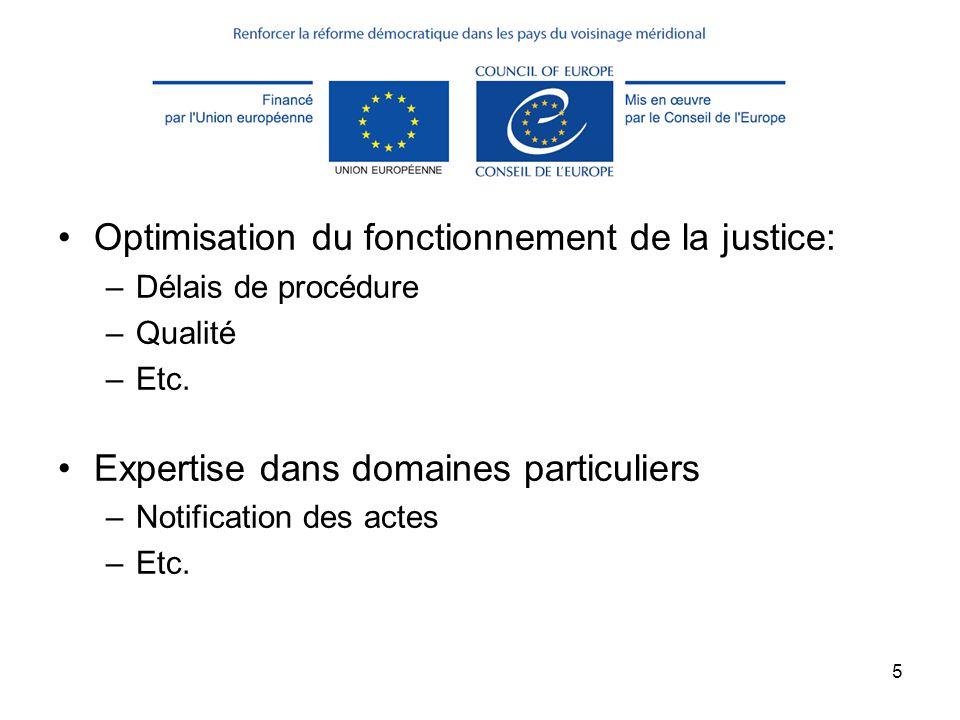5 Objectifs Optimisation du fonctionnement de la justice: –Délais de procédure –Qualité –Etc. Expertise dans domaines particuliers –Notification des a
