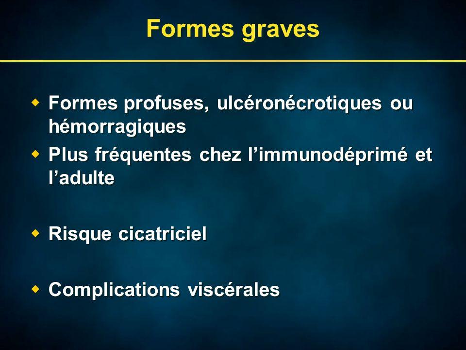 Formes graves  Formes profuses, ulcéronécrotiques ou hémorragiques  Plus fréquentes chez l'immunodéprimé et l'adulte  Risque cicatriciel  Complications viscérales  Formes profuses, ulcéronécrotiques ou hémorragiques  Plus fréquentes chez l'immunodéprimé et l'adulte  Risque cicatriciel  Complications viscérales