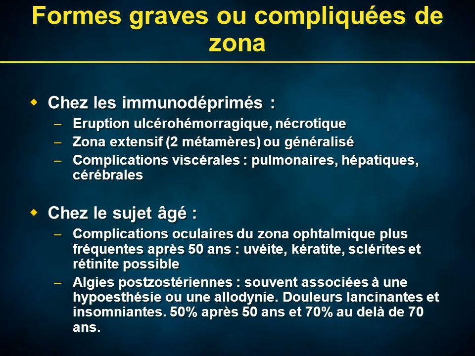 Formes graves ou compliquées de zona  Chez les immunodéprimés : –Eruption ulcérohémorragique, nécrotique –Zona extensif (2 métamères) ou généralisé –Complications viscérales : pulmonaires, hépatiques, cérébrales  Chez le sujet âgé : –Complications oculaires du zona ophtalmique plus fréquentes après 50 ans : uvéite, kératite, sclérites et rétinite possible –Algies postzostériennes : souvent associées à une hypoesthésie ou une allodynie.