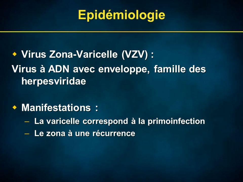 Epidémiologie  Virus Zona-Varicelle (VZV) : Virus à ADN avec enveloppe, famille des herpesviridae  Manifestations : –La varicelle correspond à la primoinfection –Le zona à une récurrence  Virus Zona-Varicelle (VZV) : Virus à ADN avec enveloppe, famille des herpesviridae  Manifestations : –La varicelle correspond à la primoinfection –Le zona à une récurrence