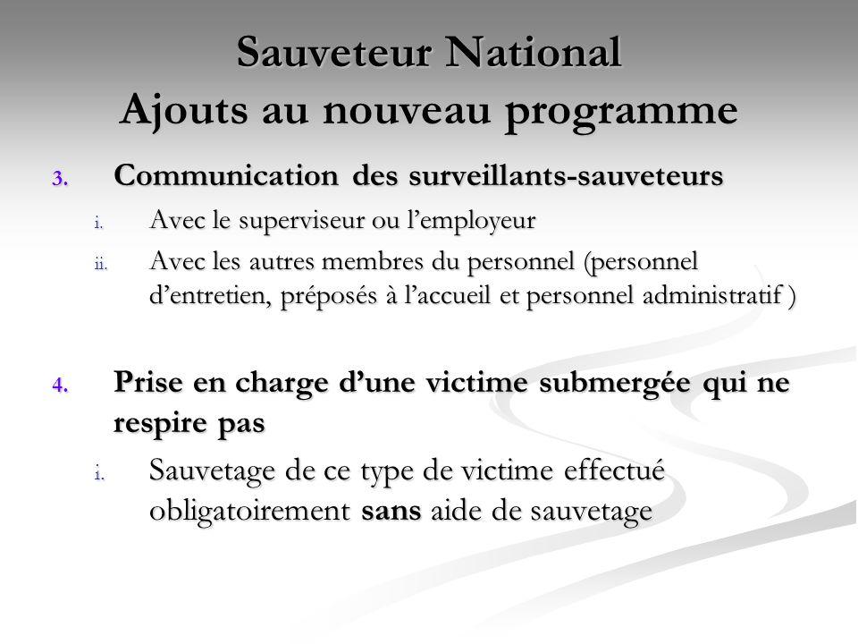 Sauveteur National Ajouts au nouveau programme 3. Communication des surveillants-sauveteurs i. Avec le superviseur ou l'employeur ii. Avec les autres