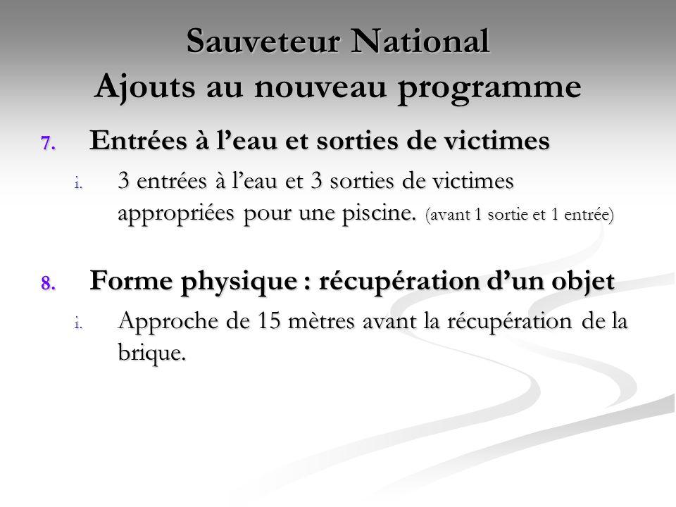 Sauveteur National Ajouts au nouveau programme 7. Entrées à l'eau et sorties de victimes i. 3 entrées à l'eau et 3 sorties de victimes appropriées pou