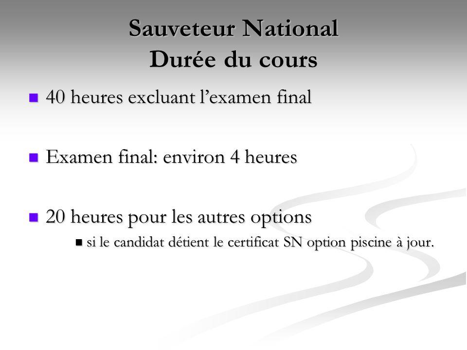 Sauveteur National Durée du cours 40 heures excluant l'examen final 40 heures excluant l'examen final Examen final: environ 4 heures Examen final: env