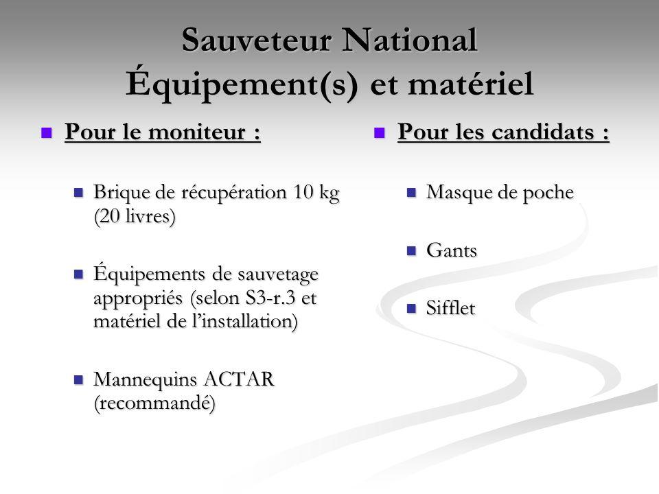Sauveteur National Équipement(s) et matériel Pour le moniteur : Pour le moniteur : Brique de récupération 10 kg (20 livres) Brique de récupération 10
