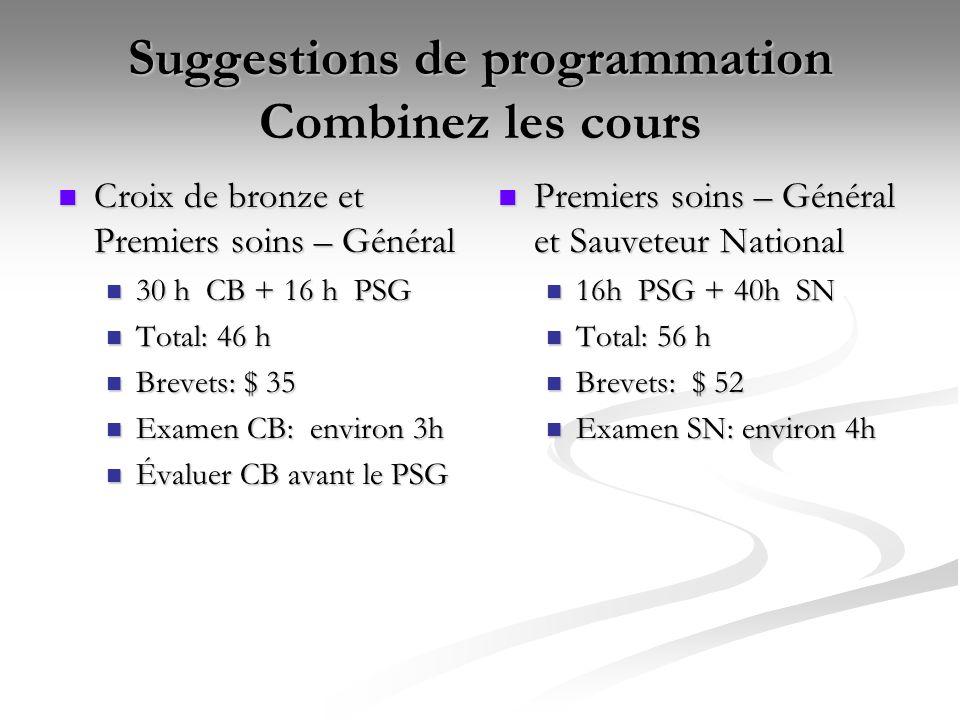 Suggestions de programmation Combinez les cours Croix de bronze et Premiers soins – Général Croix de bronze et Premiers soins – Général 30 h CB + 16 h