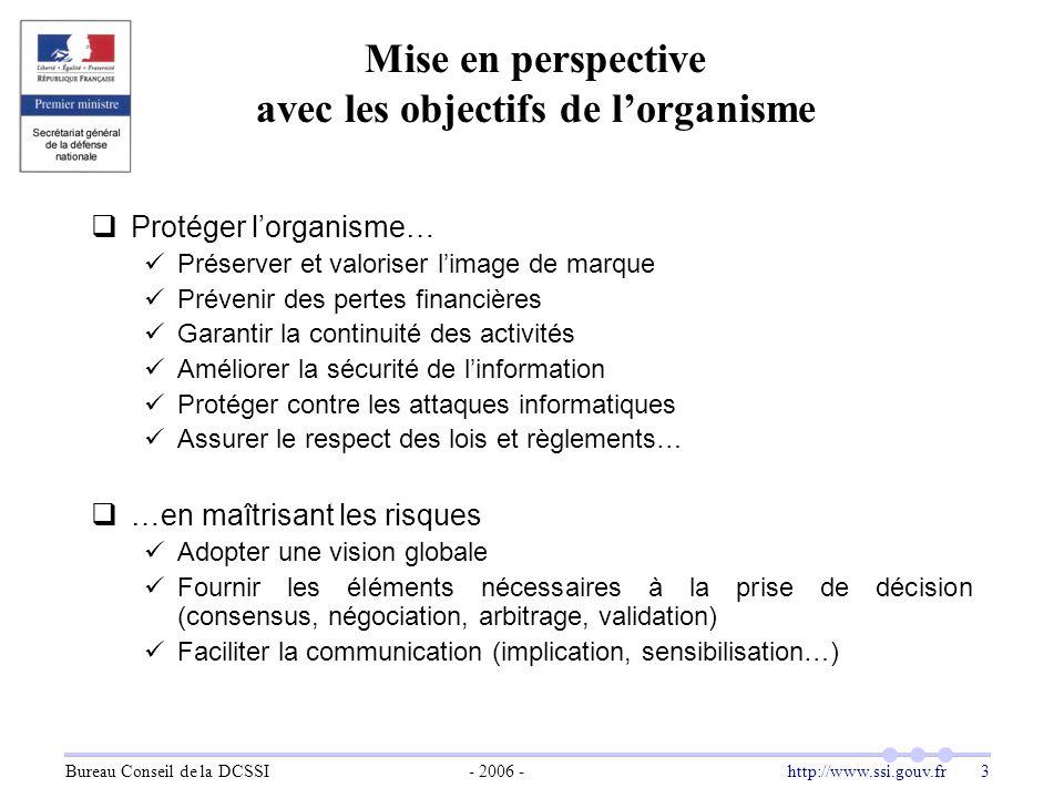 Bureau Conseil de la DCSSI- 2006 -http://www.ssi.gouv.fr 3 Mise en perspective avec les objectifs de l'organisme  Protéger l'organisme… Préserver et
