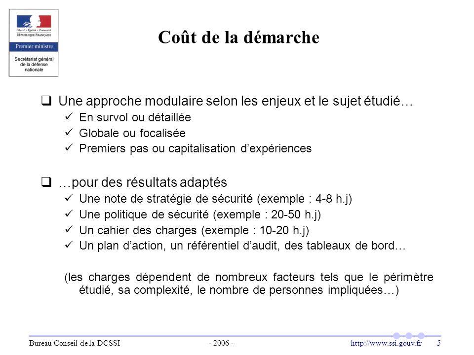 Bureau Conseil de la DCSSI- 2006 -http://www.ssi.gouv.fr 5 Coût de la démarche  Une approche modulaire selon les enjeux et le sujet étudié… En survol
