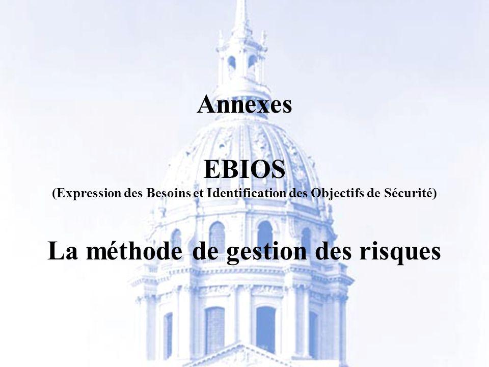 Bureau Conseil de la DCSSI- 2006 -http://www.ssi.gouv.fr 6 Annexes EBIOS (Expression des Besoins et Identification des Objectifs de Sécurité) La métho