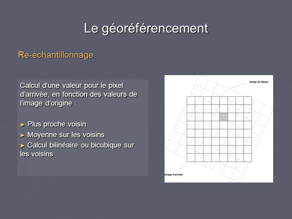 Le géoréférencement Calcul d'une valeur pour le pixel d'arrivée, en fonction des valeurs de l'image d'origine : ► Plus proche voisin ► Moyenne sur les