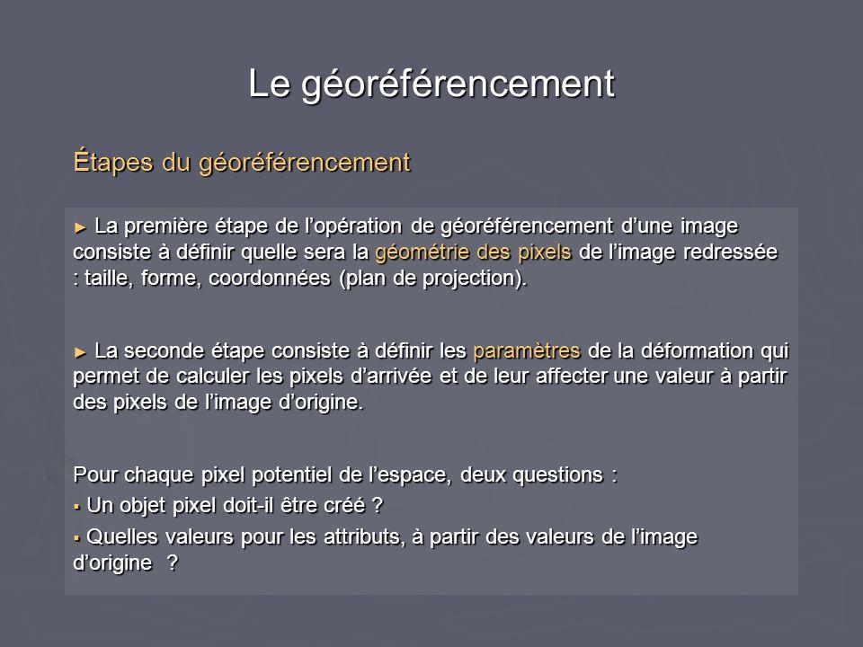 Le géoréférencement ► La première étape de l'opération de géoréférencement d'une image consiste à définir quelle sera la géométrie des pixels de l'ima
