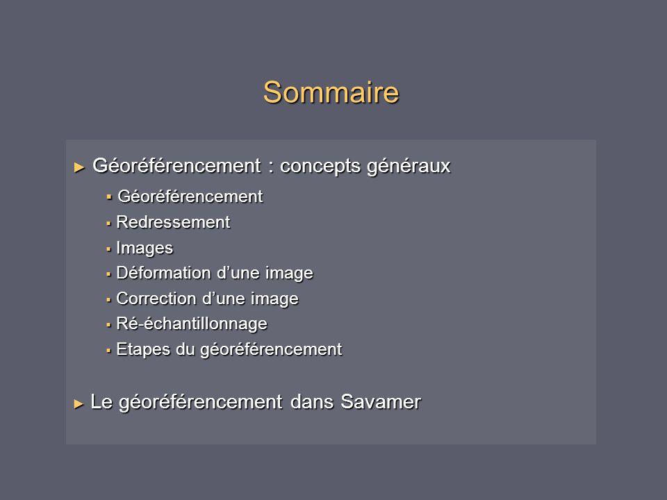 Sommaire ► Géoréférencement : concepts généraux  Géoréférencement  Redressement  Images  Déformation d'une image  Correction d'une image  Ré-éch