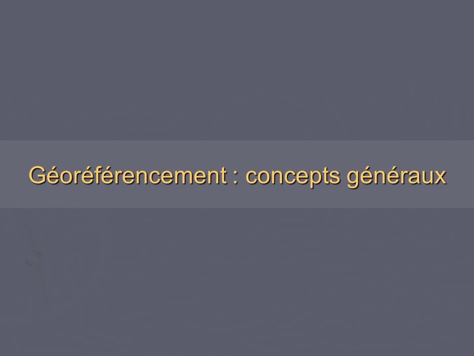 ► Géoréférencer, c'est mettre une image ou des objets graphiques, dessinés dans un plan, en conformité géométrique avec la réalité, exprimée dans un système géodésique (datum) et de projection donné.