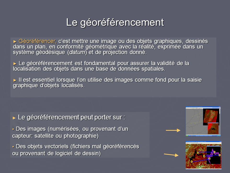 ► Géoréférencer, c'est mettre une image ou des objets graphiques, dessinés dans un plan, en conformité géométrique avec la réalité, exprimée dans un s