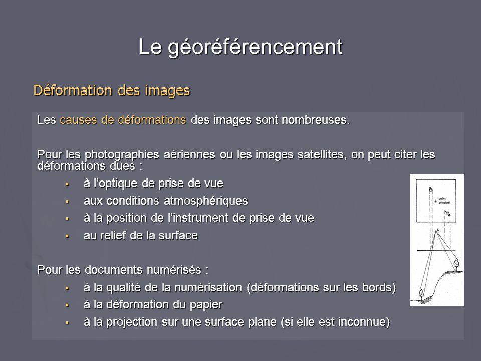 Le géoréférencement Corriger géométriquement une image revient toujours à déterminer un modèle de déformation entre les coordonnées dans l'image brute et les coordonnées dans le système de référence utilisé pour l'image à créer.